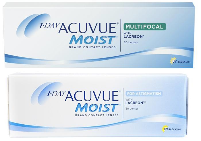 Контактные линзы 1-Day Acuvue Moist мультифокальные и при астигматизме