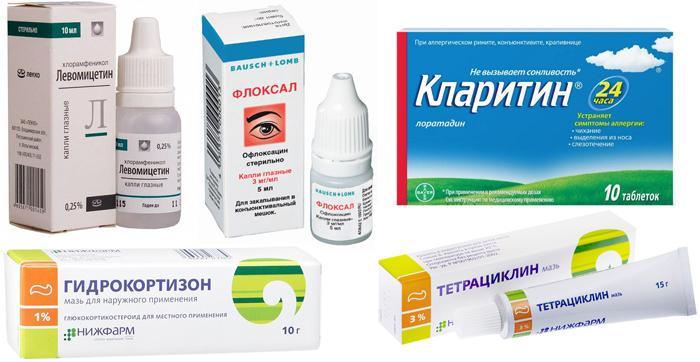 Медикаменты для лечения патологий при опухании века