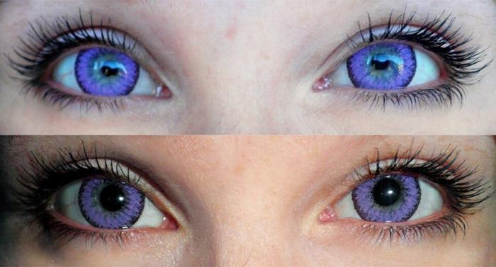 Цветные фиолетовые линзы