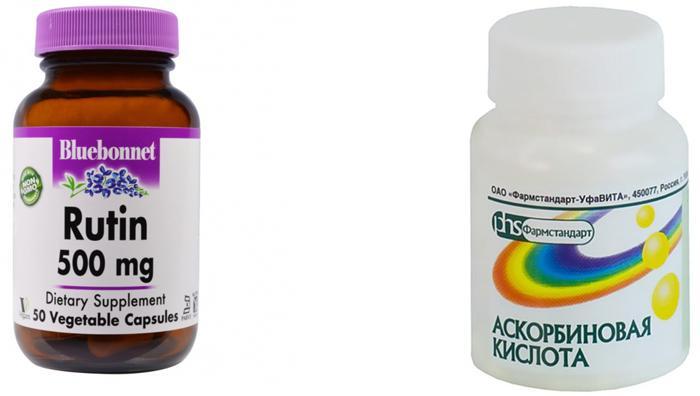 Витамины Рутин и Аскорбиновая кислота при гипосфагме