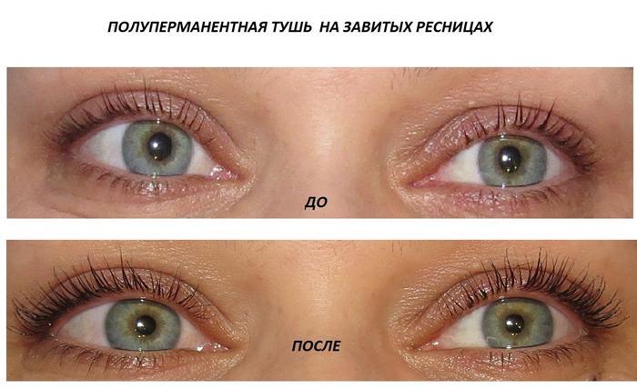 Полуперманентная тушь: до и после