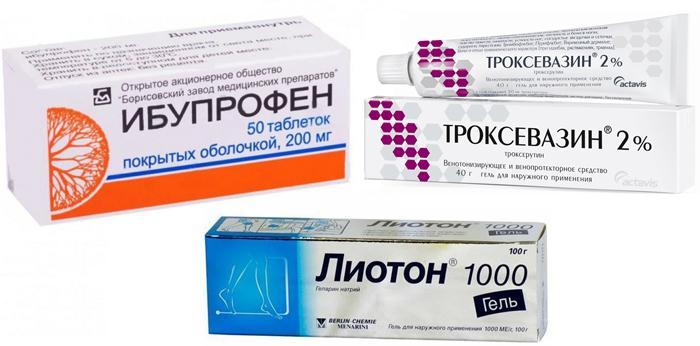 Препараты Лиотон, Троксевазин, Ибупрофен