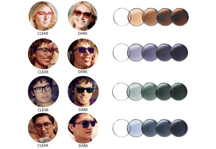 Фотохромные линзы для очков Essilor Transtions