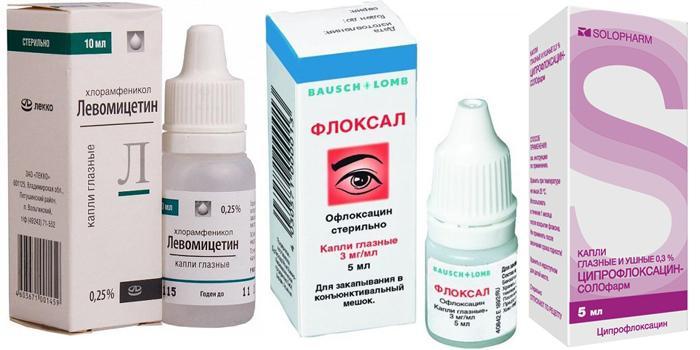 Глазные капли Левомицетин, Офлоксацин, Флоксал