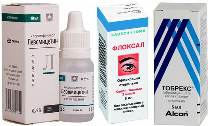 Глазные капли Флоксал, Тобрекс, Левомицетин.