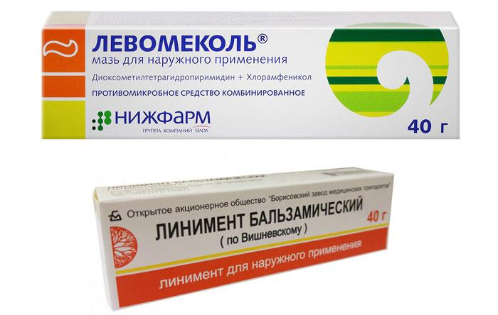 Мазь Вишневского и Левомеколь для лечения ячменя