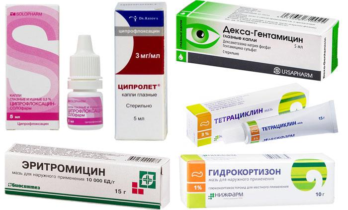 Лекарственные препараты от ячменя (гордеолума)