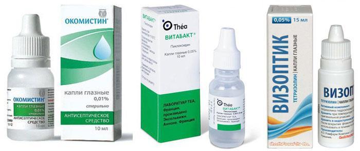 Сосудосуживающие и антисептические капли для глаз