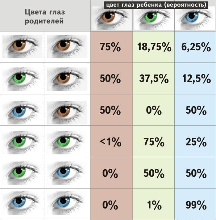 Определение цвета глаз ребенка